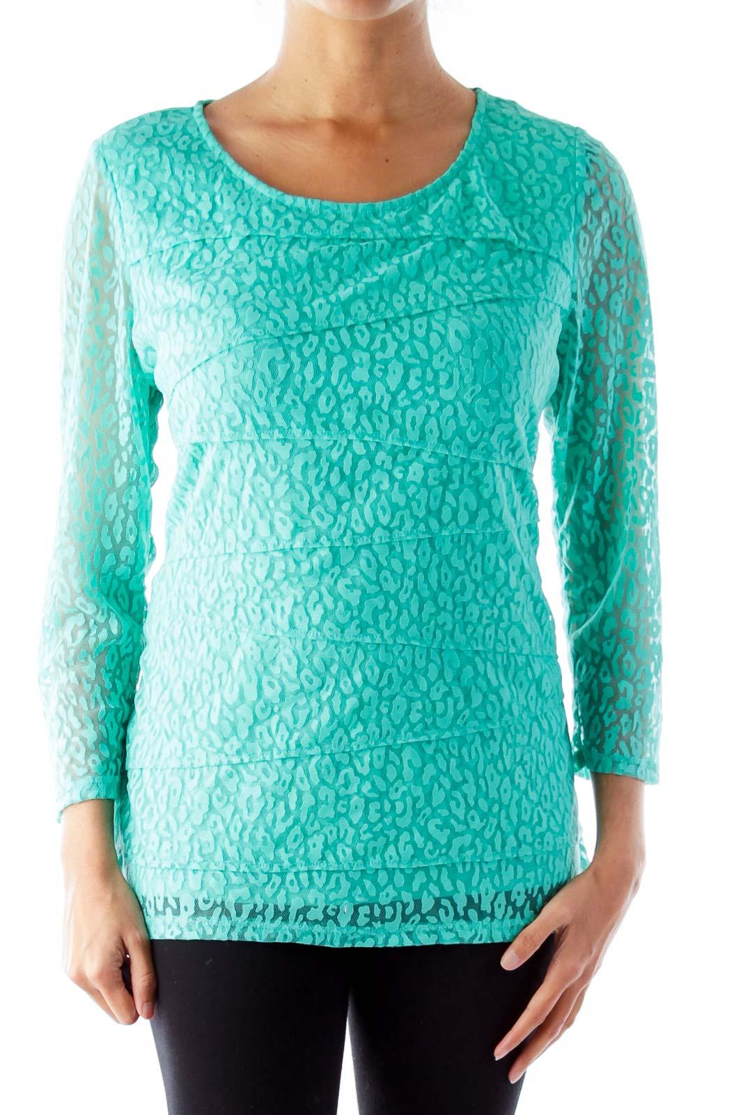 Green Animal Print Lace Shirt