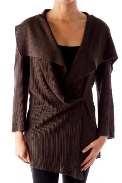 Brown Ruffle Knit Jacket