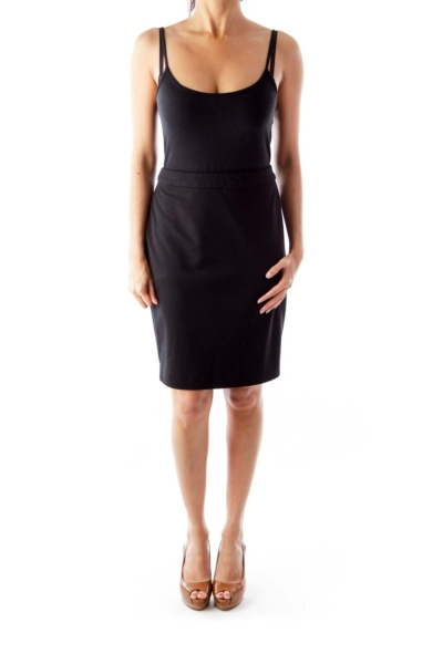 Black Straight Pencil Skirt