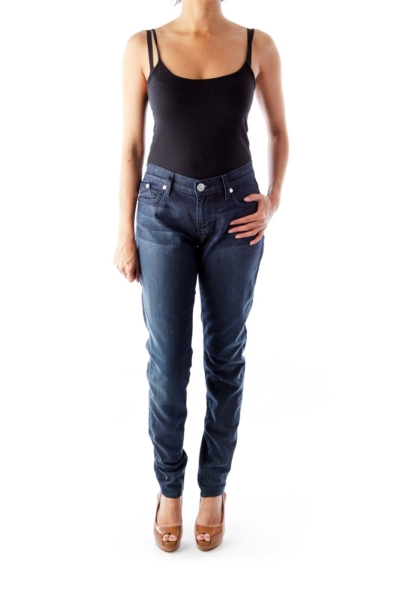 Dark Blue Skinny Zipper Jeans