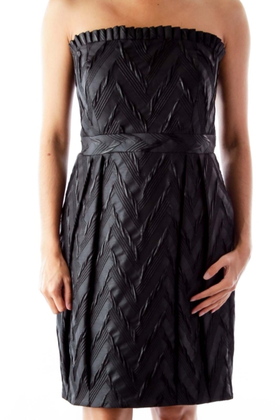 Black Brocade Strapless Dress