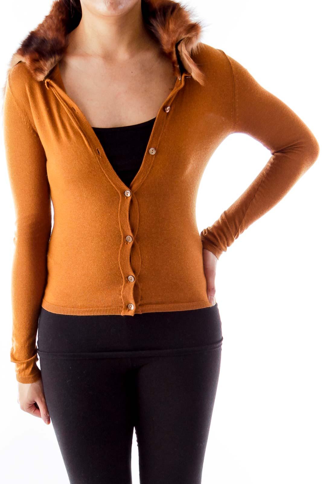 Brown Fur Collar Sweater