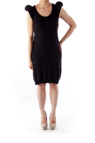 Black Puff Cap Sleeve Dress