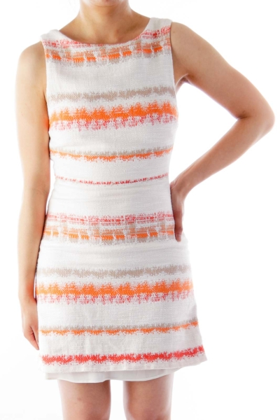 Beige & Orange Stripe Dress