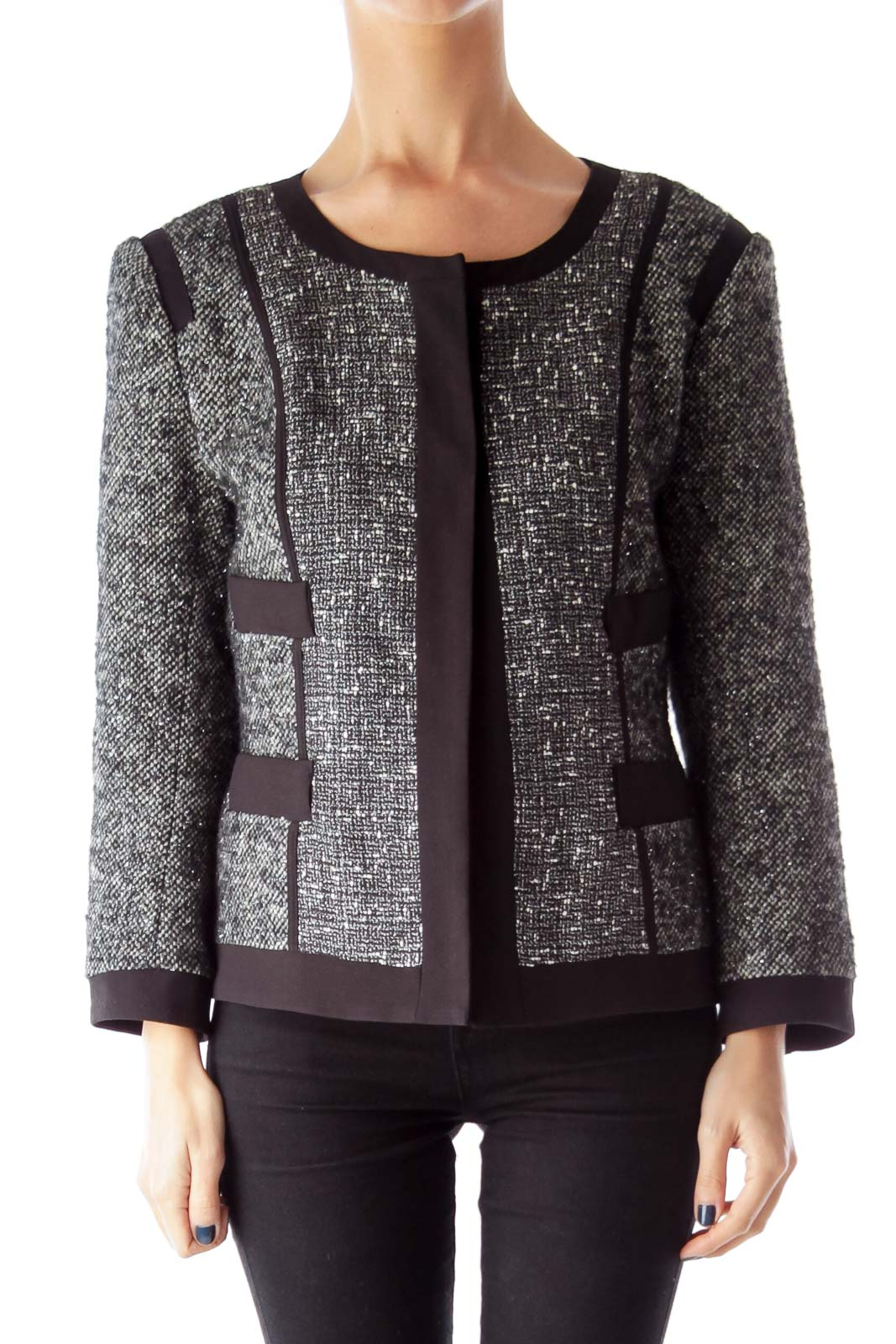 Black Metallic Tweed Jacket
