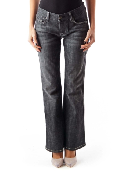 Black Washed Flare Jeans