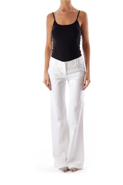 White Long Flare Pants