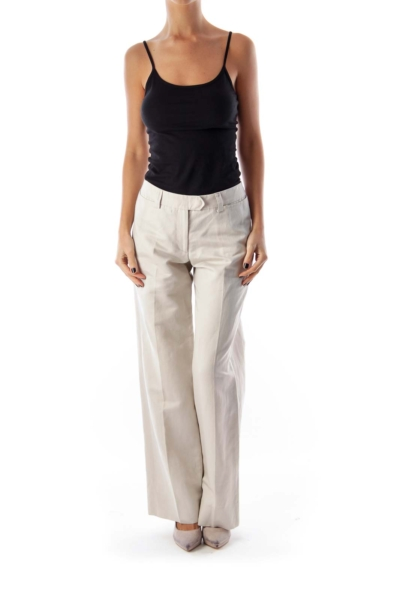 Beige Wide Legs Pants