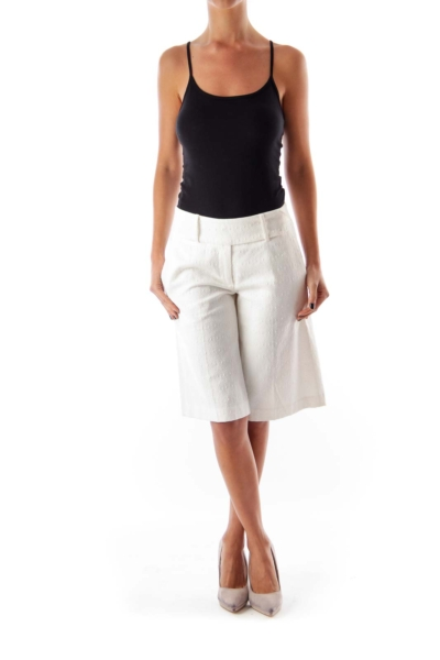 White Texture Knee Length Shorts