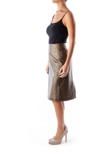 Gold Leather Midi Skirt