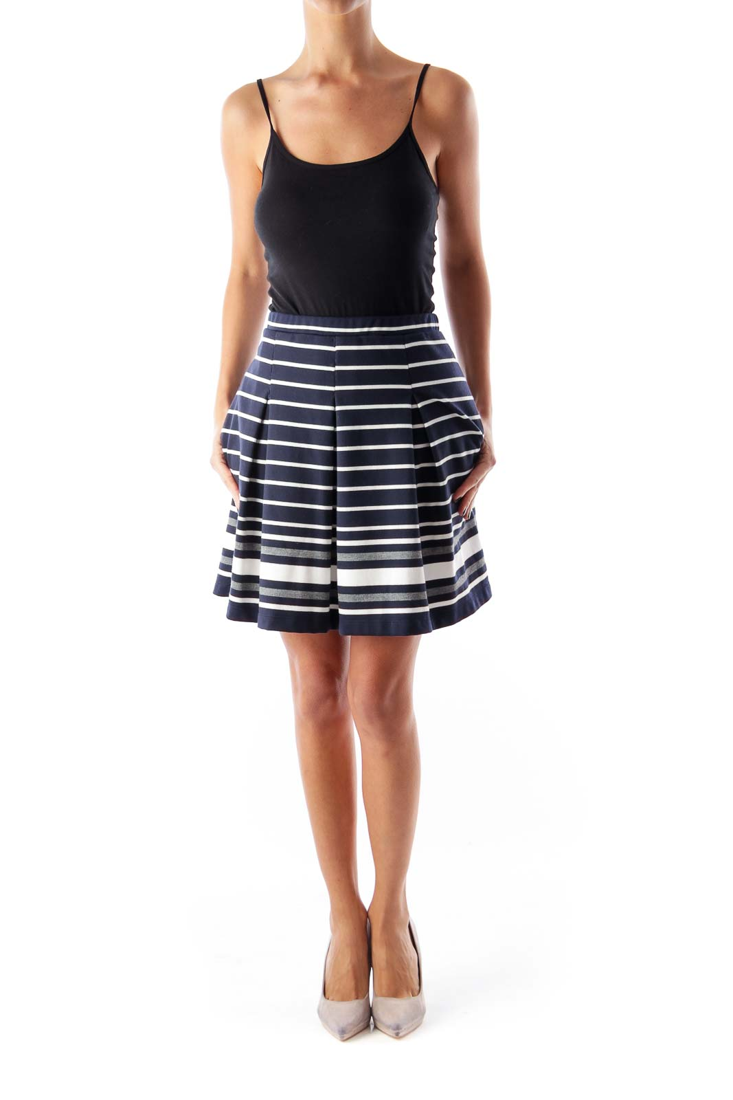 Navy Striped A Line Skirt
