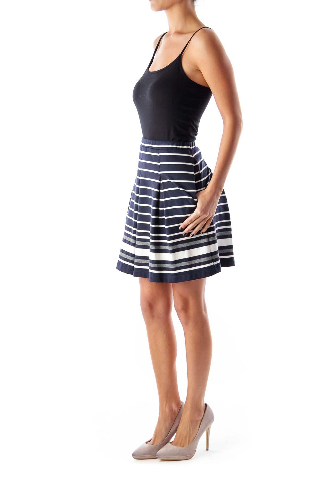 Navy Striped A Line Skirt