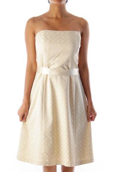 Beige Brocade Strapless Dress
