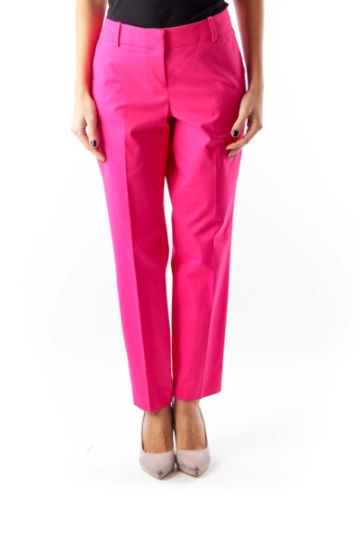 Pink Stretch Crop Pants