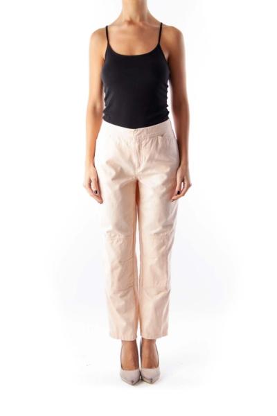 Pink Stretch Crop Pants