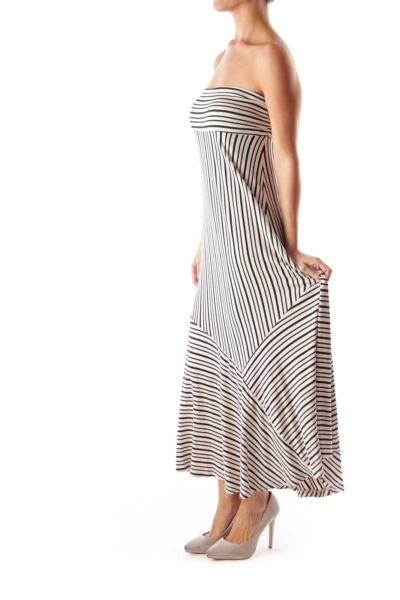 Black & Beige Stripe Maxi Dress