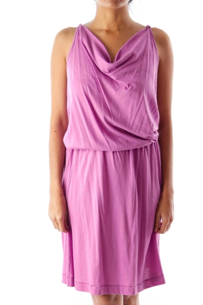 Purple Cowl Neck Tank Dress