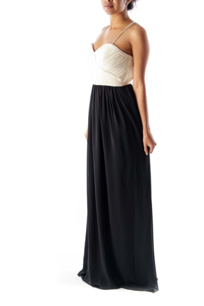 Beige & Black Maxi Dress