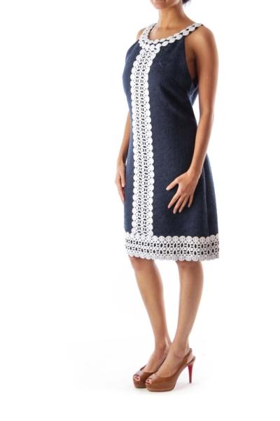 Navy & White Crochet Dress
