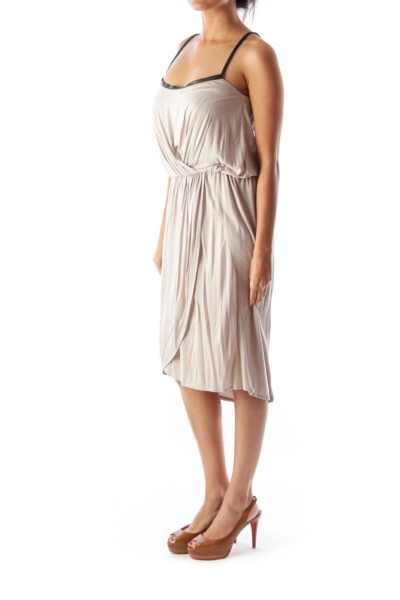 Beige Leather Detail Dress