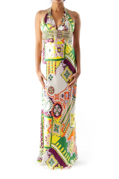 Print Embroider Maxi Dress
