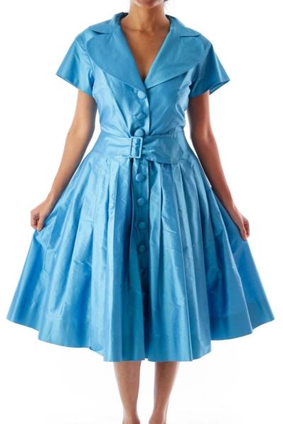Blue Button Up A Line Dress