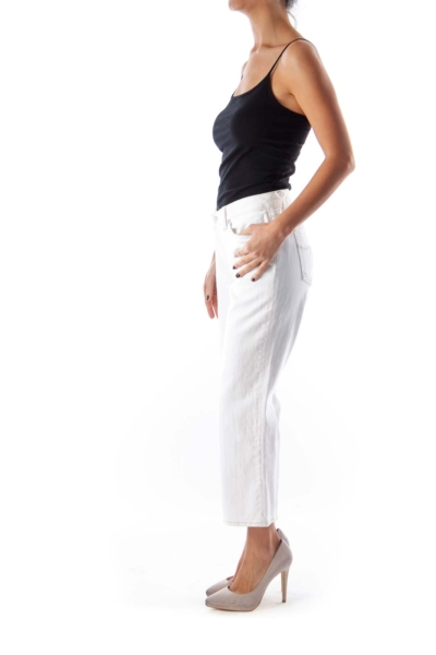 White Ankle Crop Jeans