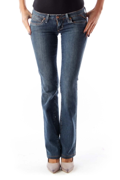 Blue Low Rise Flare Jeans