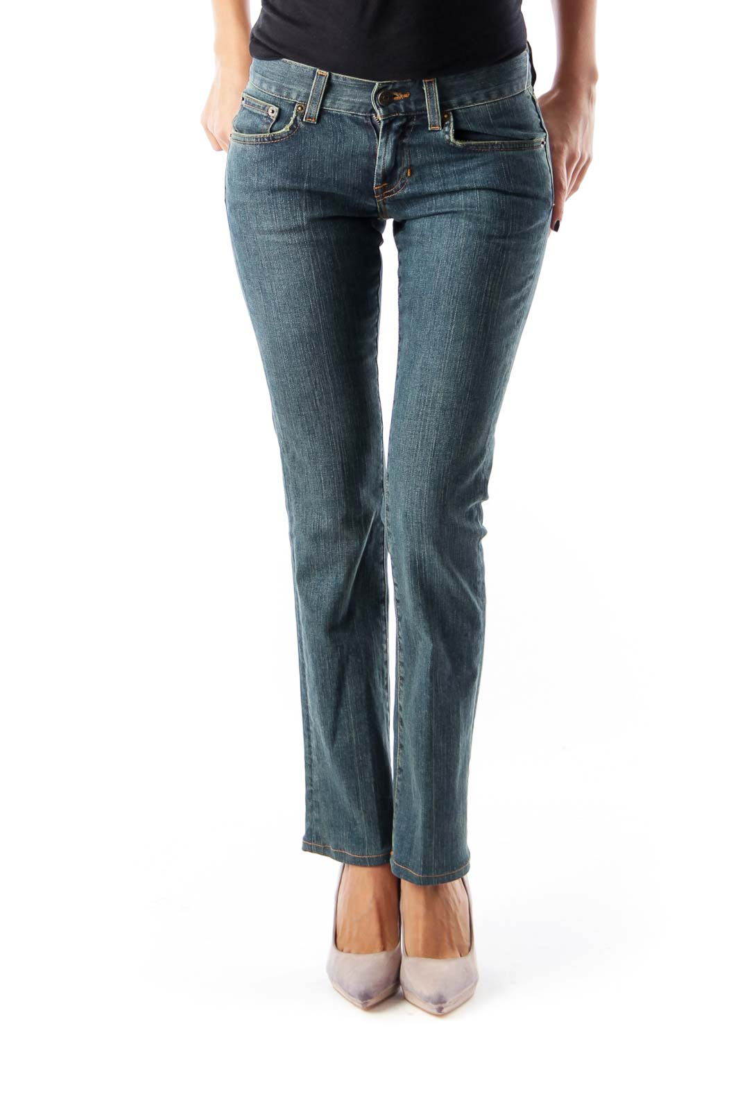Blue Pocket Detail Jeans