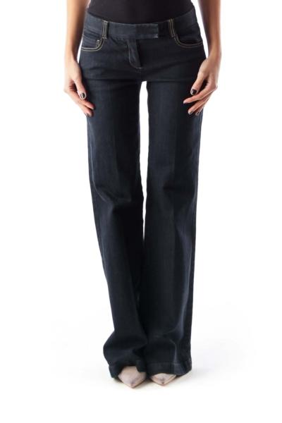 Black Mid Waist Flare Jeans