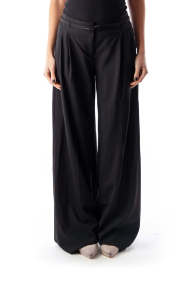 Black Belted Wide Pants
