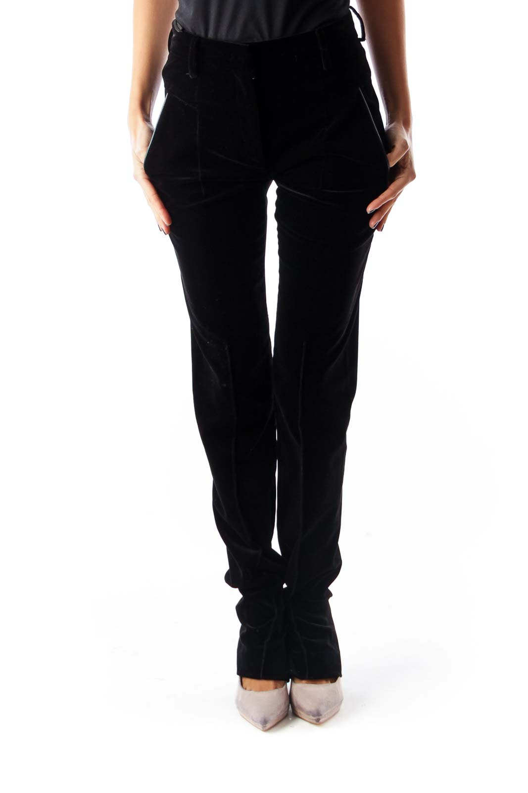 Black Velvet Skinny Pants