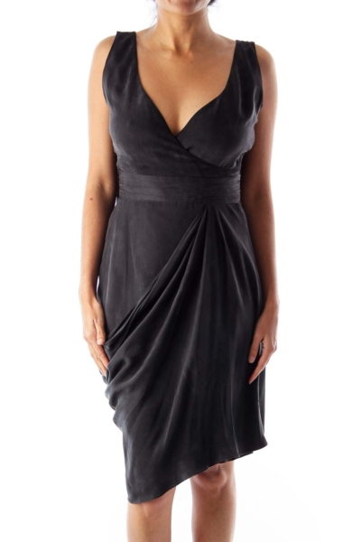 Black Suede Wrap Dress