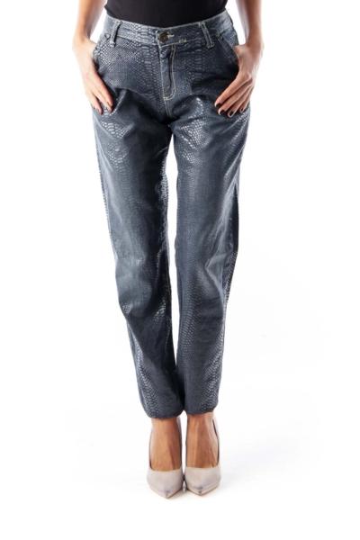 Blue Snake Skinny Pants