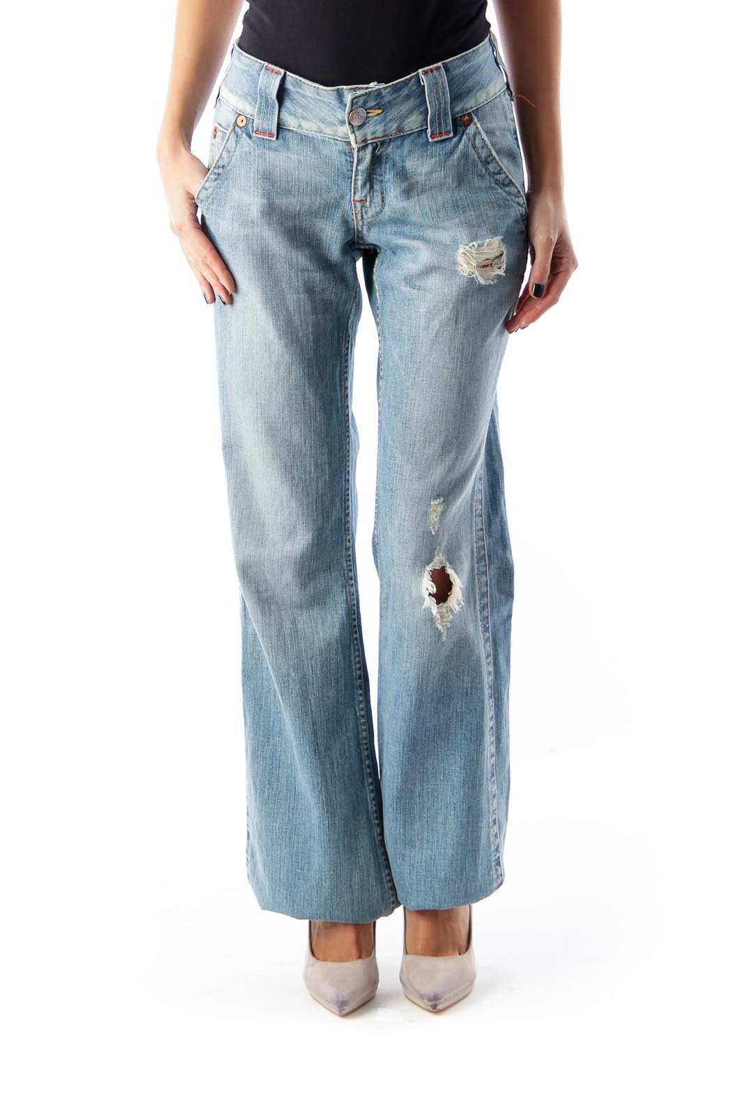 Light Blue Destroyed Jeans