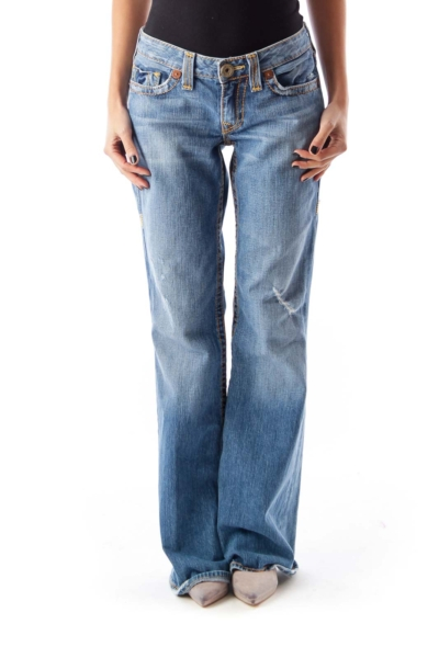 Blue Destroyed Flare Jeans