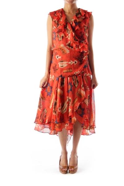 Orange Print A Line Dress