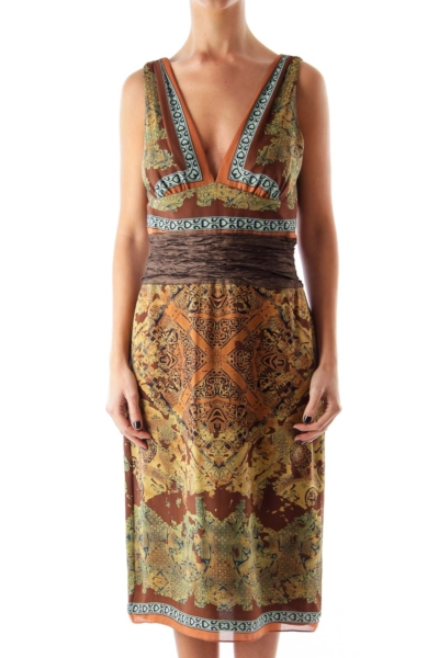 Brown Print Tank Dress