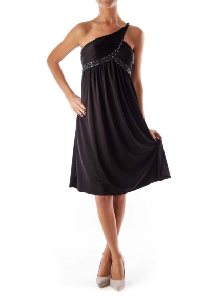 Black Beaded One Shoulder Dress