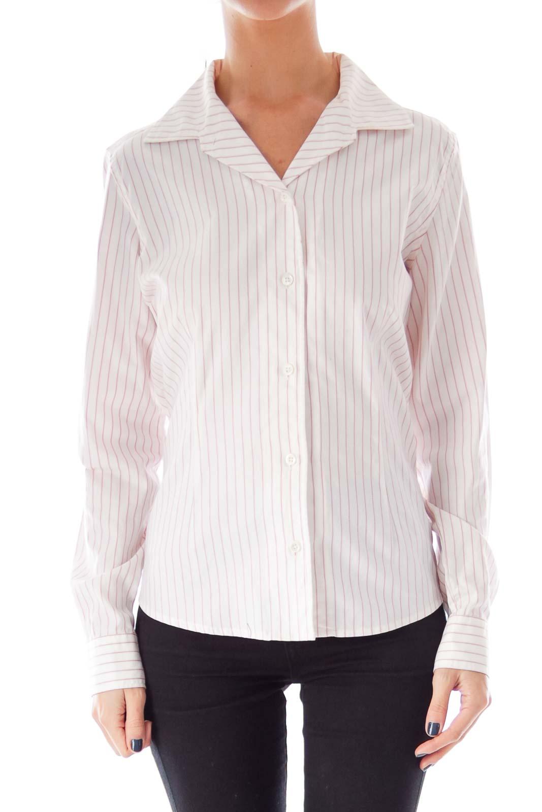 White pink stripe shirt s silkroll for Pink white striped shirt