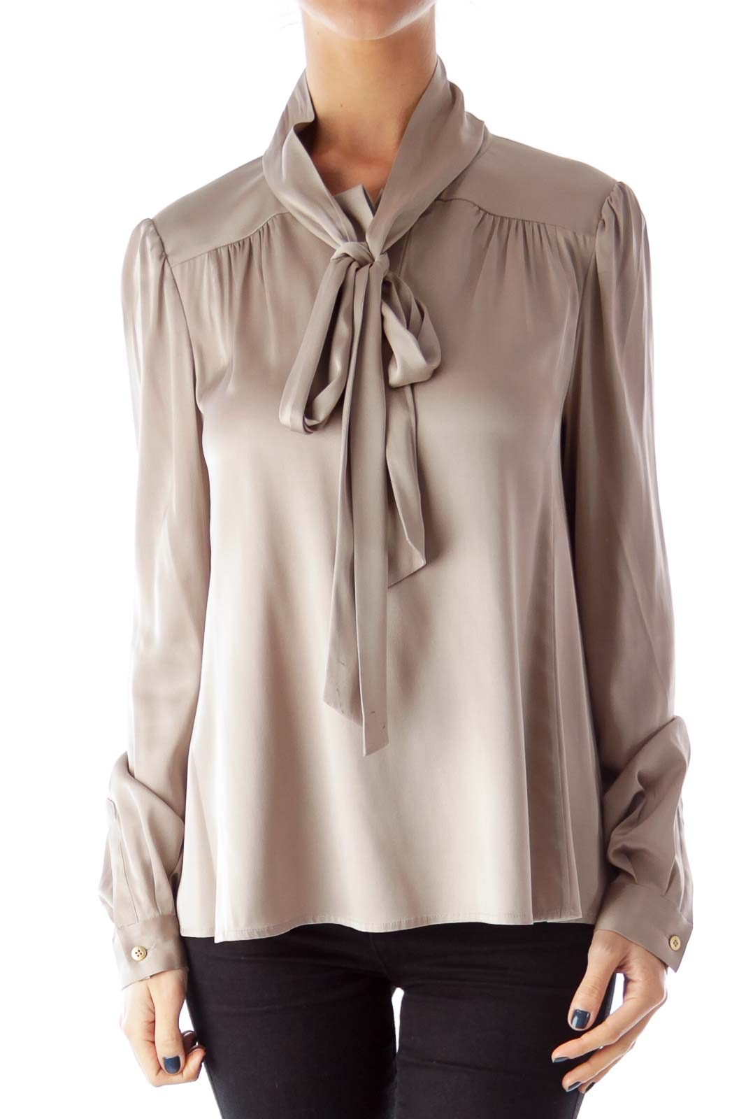 046cd95ef2d24 Shop Taupe Bow Silk Blouse clothing and handbags at SilkRoll. Trade ...