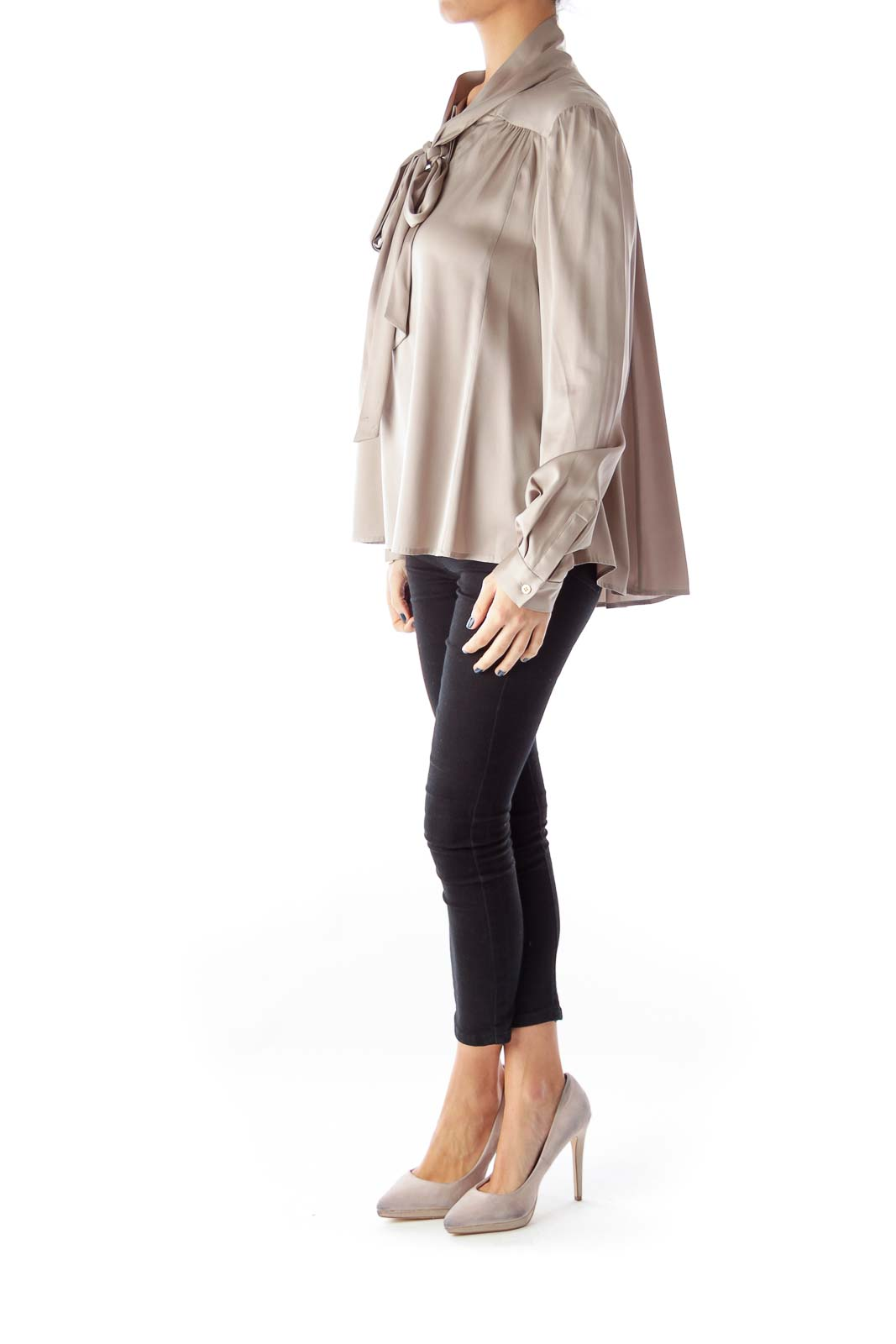 Taupe Bow Silk Blouse