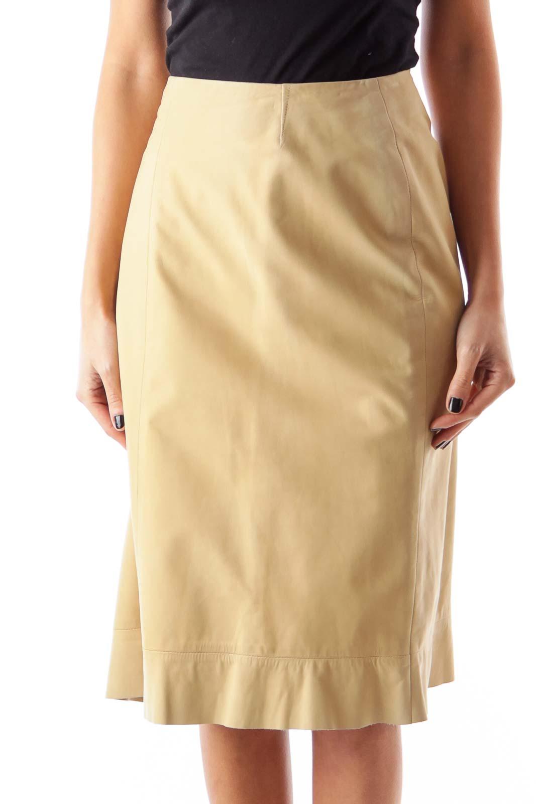 Cream A Line Skirt [14] - SilkRoll