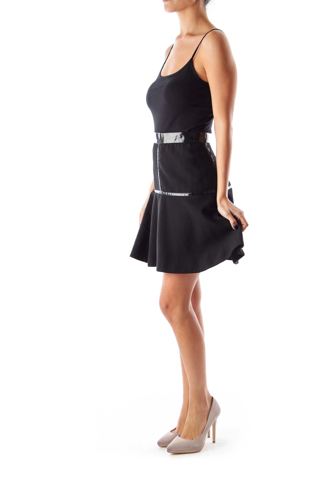 Black Vinyl A Line Skirt