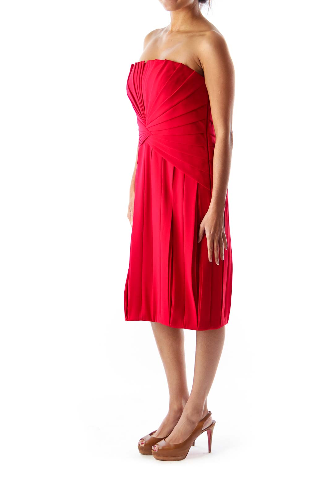 Red Pleated Party Dress
