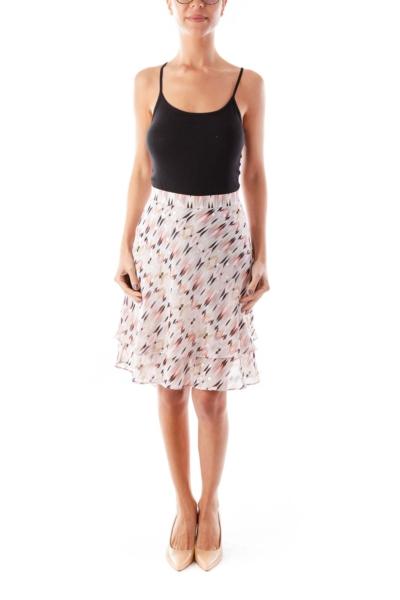 Peach& Gold  Print Skirt