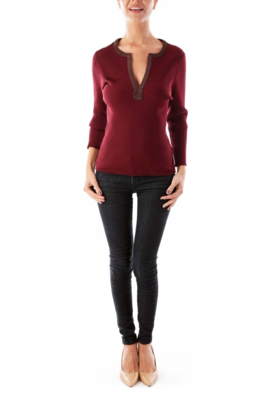 Maroon Suede Detail V Neck Sweater