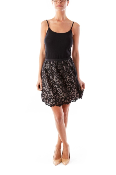 Black & Beige Cocktail Skirt