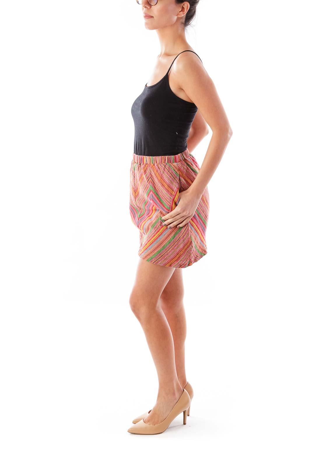 Red Tribal Patten Skirt