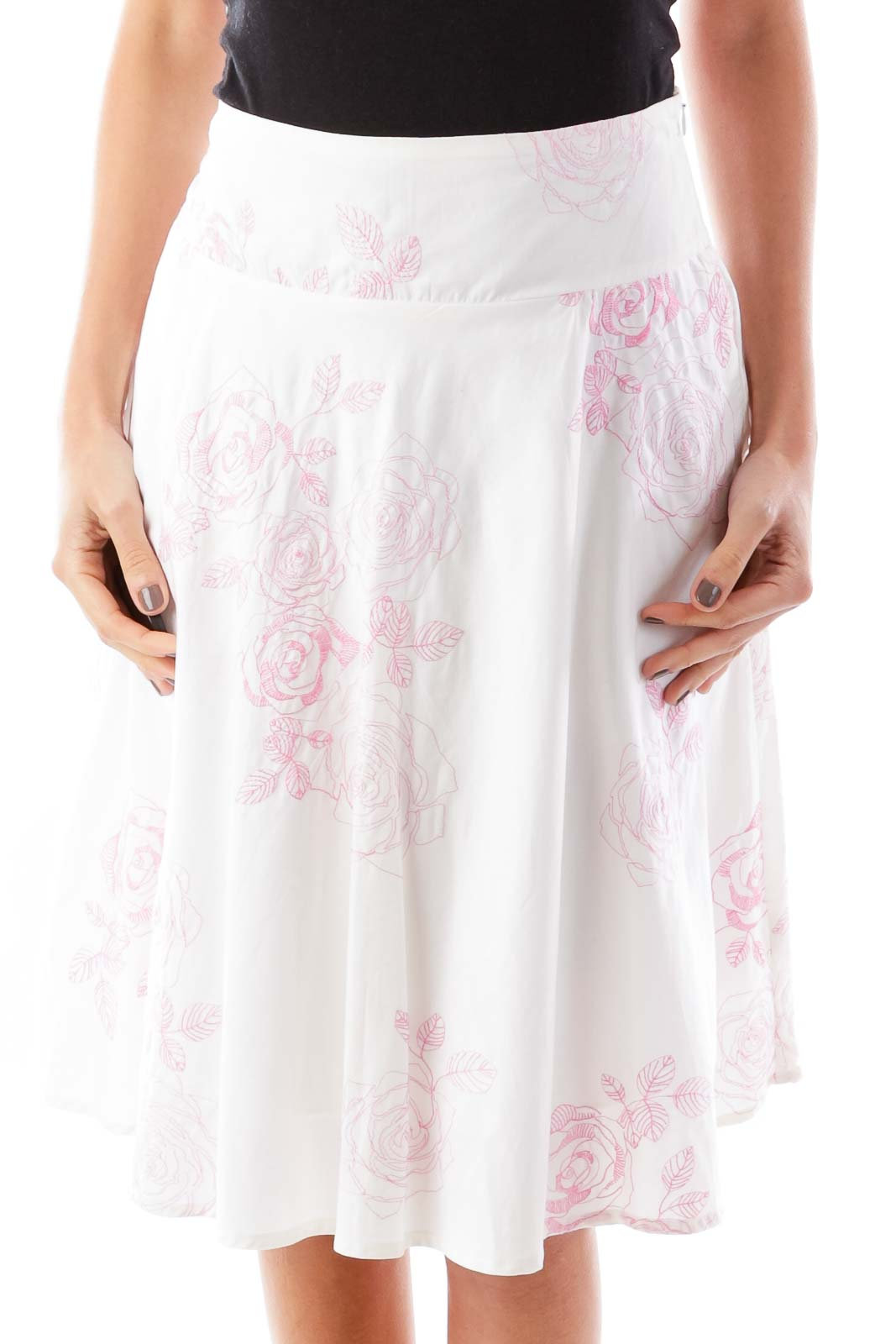 White pink embroidered floral skirt s silkroll white pink embroidered floral skirt mightylinksfo